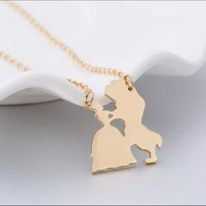 Gold Beauty & The Beast Pendant Charm Necklace